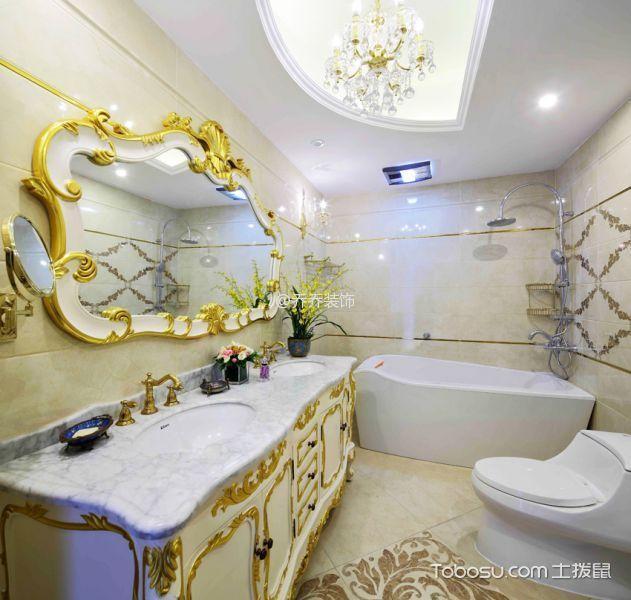 卫生间 浴缸_欧式风格120平米3房1厅房子装饰效果图