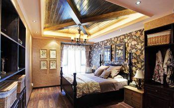 卧室咖啡色吊顶混搭风格装修设计图片