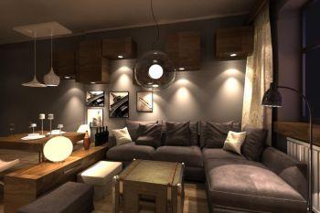 福星城北欧现代暗色风格两居装修效果图