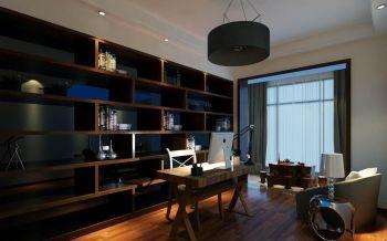 书房黄色博古架新中式风格装饰图片