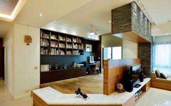 书房咖啡色隔断日式风格装饰效果图