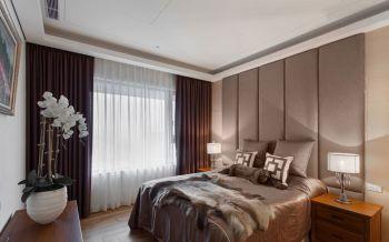卧室咖啡色窗帘现代简约风格装饰设计图片