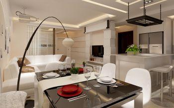 餐厅白色吧台现代简约风格装修设计图片