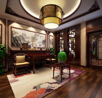 客厅黄色灯具中式风格装潢图片