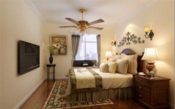 卧室黄色灯具美式风格装饰设计图片
