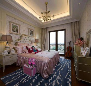 卧室灰色窗帘法式风格装潢效果图