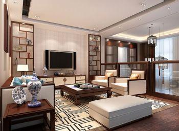 客厅咖啡色博古架新中式风格装饰设计图片