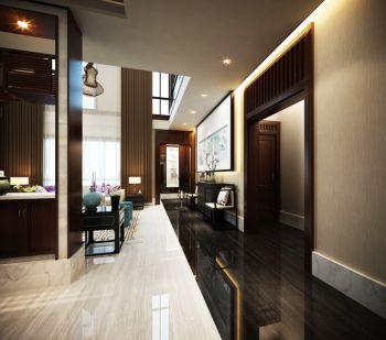 客厅黑色走廊新中式风格装潢效果图