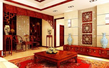 客厅红色博古架中式风格装饰设计图片