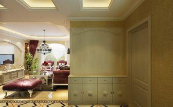玄关黄色隔断混搭风格装潢设计图片