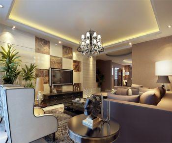 客厅黑色灯具简欧风格装修图片