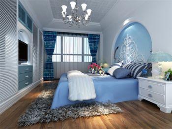 卧室蓝色床地中海风格装潢效果图