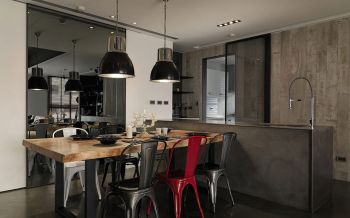 餐厅黑色灯具现代简约风格装修图片