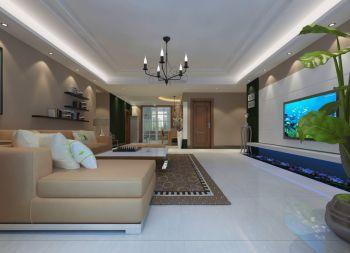 客厅白色地砖简约风格装饰设计图片