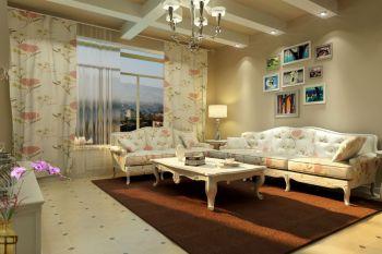客厅照片墙田园风格装潢效果图