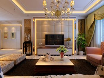 欧式田园风格100平米两室两厅室内装修效果图