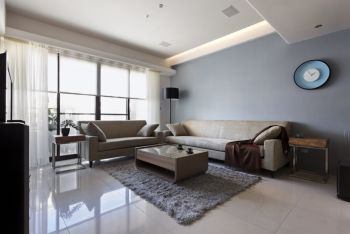 客厅白色地板砖现代简约风格装修设计图片