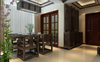 餐厅推拉门中式风格装修效果图