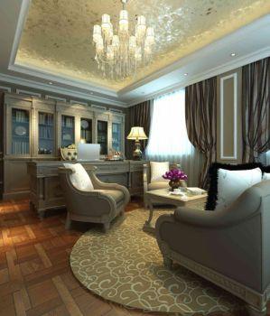 书房窗帘欧式风格装修设计图片