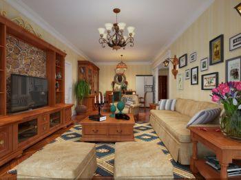 客厅黄色灯具美式风格装饰图片
