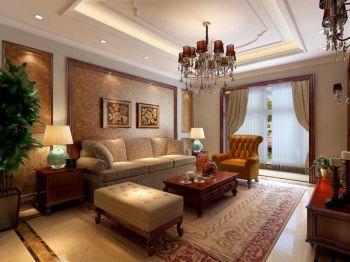 客厅红色茶几美式风格装修效果图