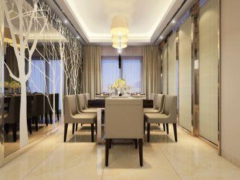 餐厅黄色灯具现代简约风格装潢效果图