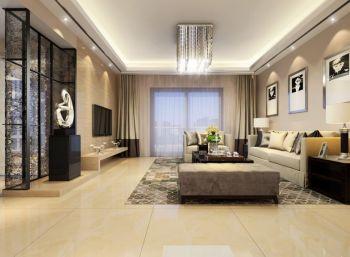 客厅黄色地砖现代简约风格装潢图片