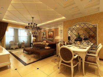 客厅黄色地板砖欧式风格装潢设计图片