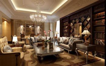 客厅咖啡色书架欧式风格装修图片