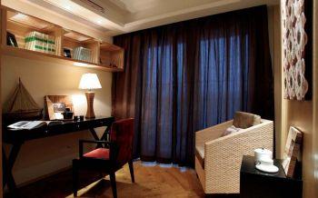 书房咖啡色窗帘东南亚风格装饰效果图