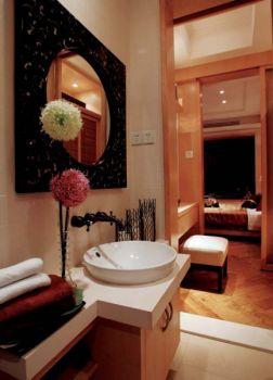 卫生间黄色洗漱台东南亚风格装潢效果图