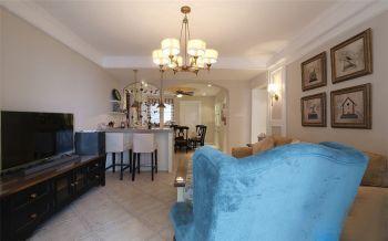 客厅白色吧台美式风格效果图