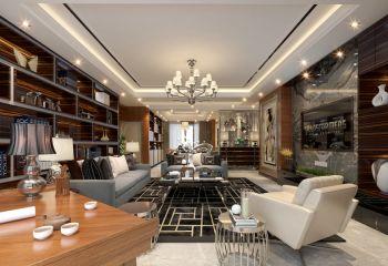 客厅白色灯具现代风格装修图片