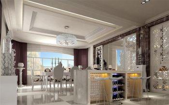 餐厅白色吧台欧式风格装潢设计图片