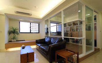 客厅白色隔断简约风格装修图片
