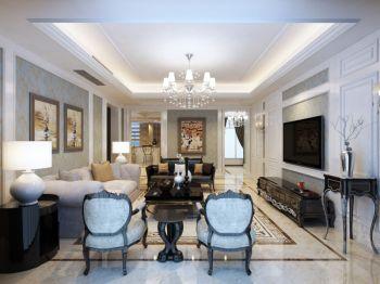 现代欧式风格120平米大户型房子装饰效果图