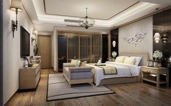 卧室黄色推拉门新中式风格装饰效果图