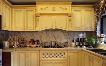 厨房黄色橱柜法式风格装潢效果图