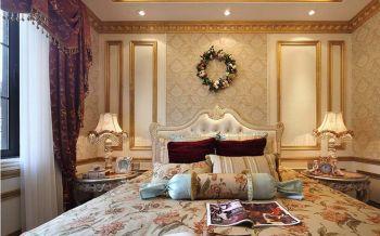 卧室红色窗帘法式风格装修设计图片