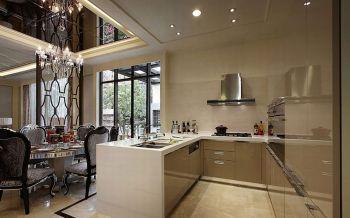 厨房咖啡色橱柜现代欧式风格装饰图片