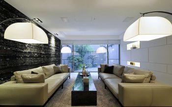 客厅白色灯具现代简约风格装修效果图