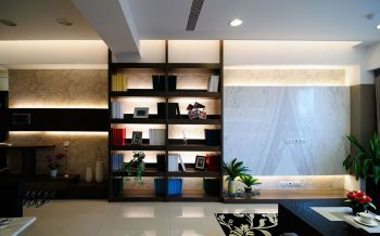 客厅白色地板砖现代简约风格装潢图片