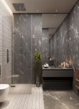 卫生间灰色背景墙简约风格装修图片