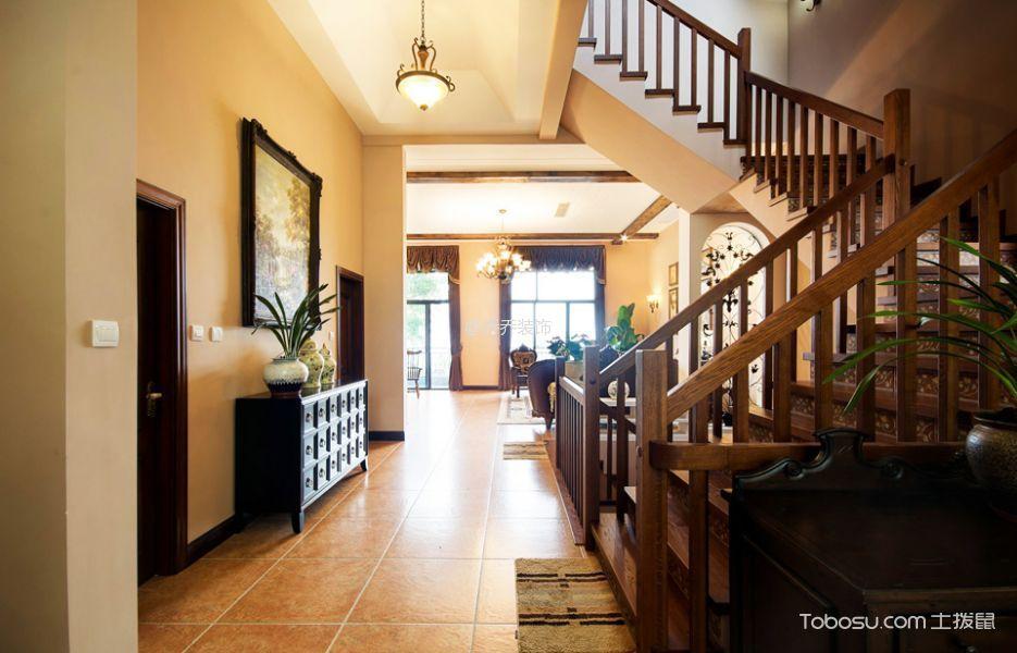 玄关 楼梯_美式风格180平米别墅新房装修效果图