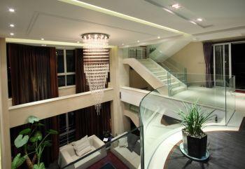 客厅白色灯具现代简约风格装修设计图片