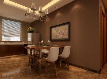 餐厅咖啡色背景墙混搭风格装潢效果图