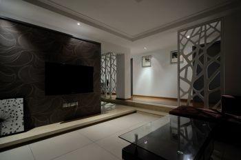 客厅白色地板砖现代风格装修设计图片