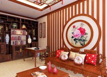书房咖啡色博古架中式古典风格装潢图片