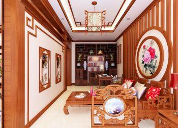 书房背景墙中式古典风格装饰设计图片