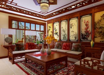 客厅背景墙中式古典风格装修效果图